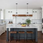white shaker cabinets with dark wood accents