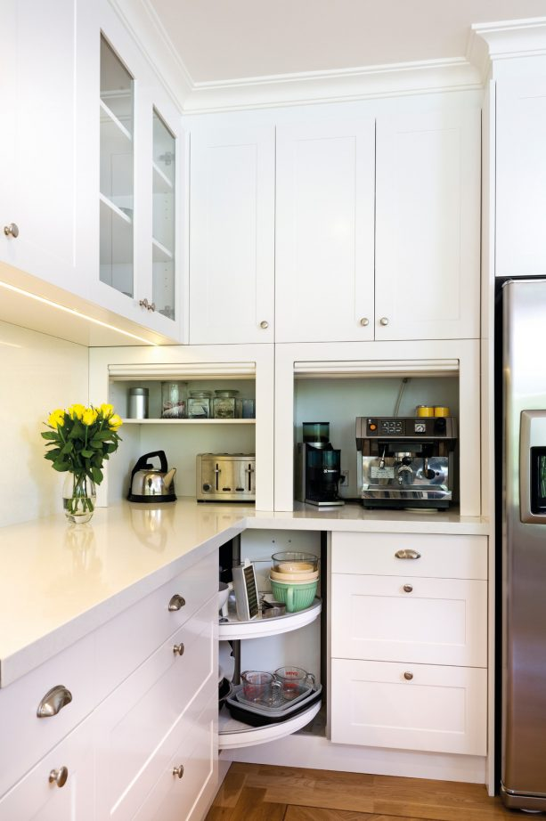 white shaker cabinets with roller doors