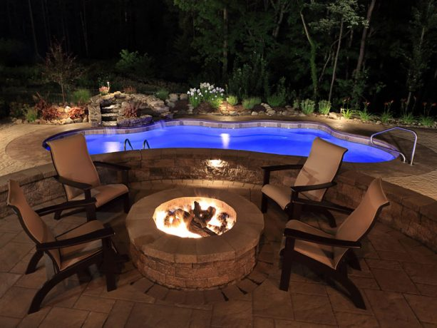 compact inground pool with build in LED lights