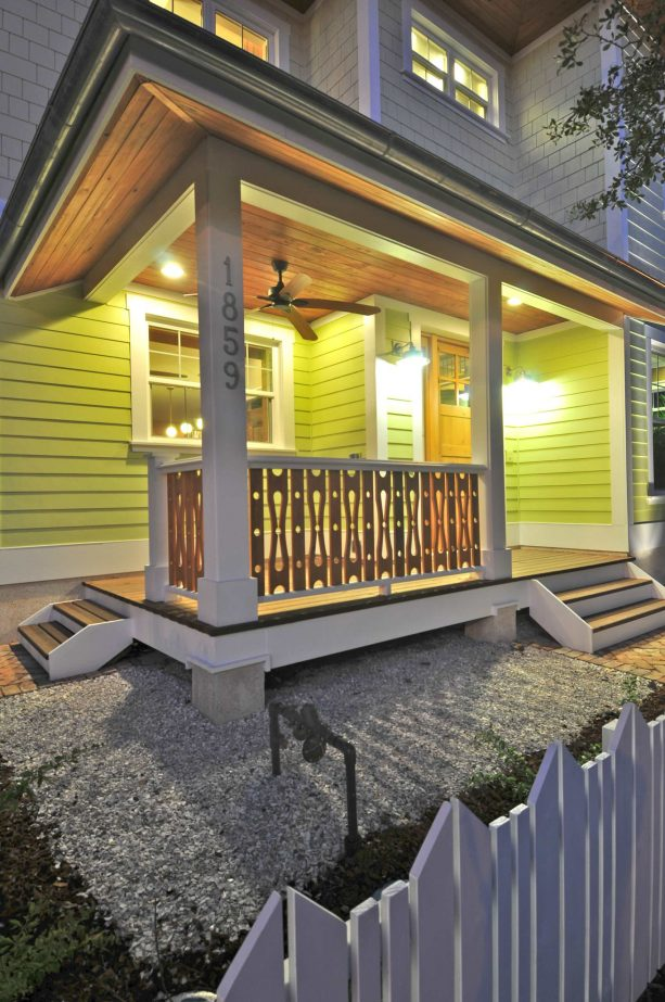 farmhouse front porch with sawn baluster railing
