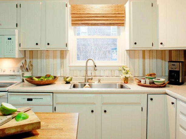 multi-color reclaimed wood backsplash