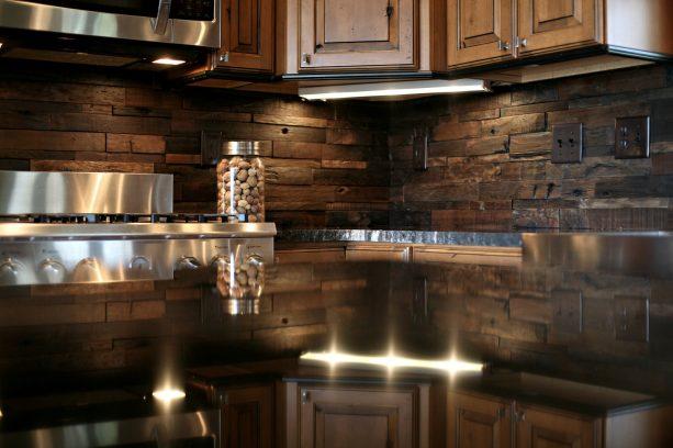 rustic mosaic wooden backsplash