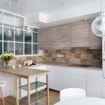 unique arrow-like wood kitchen backsplash