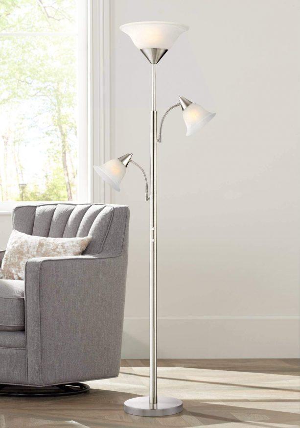 chrome tree floor lamp in a living room