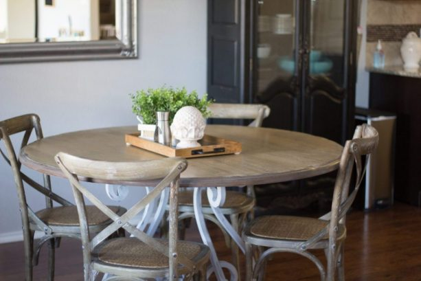 dining table set with Minwax Classic Gray and Weathered Oak refinishing