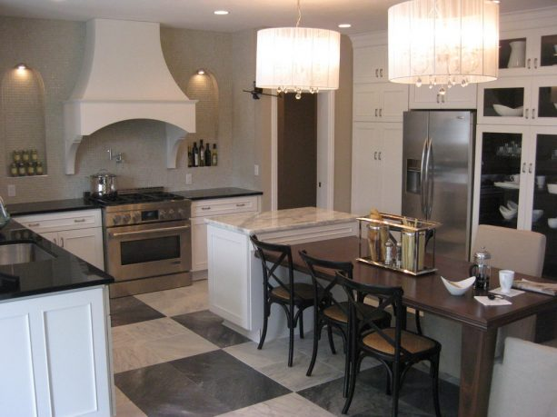 granite stone tile in a transitional kitchen