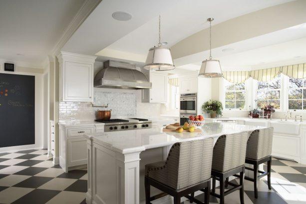 medium size checkered black and white porcelain tiles in kitchen area