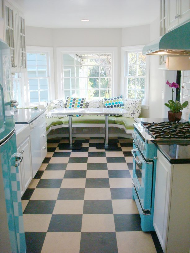 vintage-looking checkered linoleum floor in white and Tosca kitchen