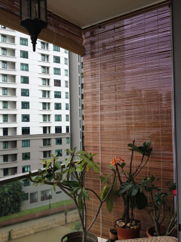 bamboo blinds in an apartment's porch