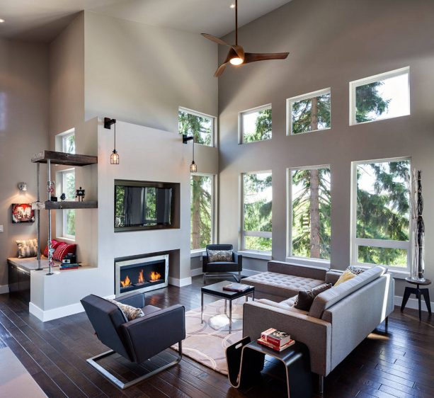 airy contemporary room with grey walls and hand-scrapped engineered birch wood floor