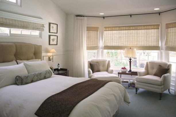 floor-to-ceiling curtains and blinds for short wide bedroom windows