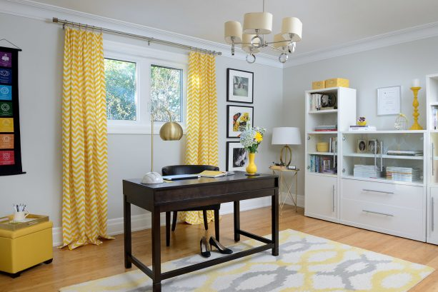 small home office window with bright yellow curtains