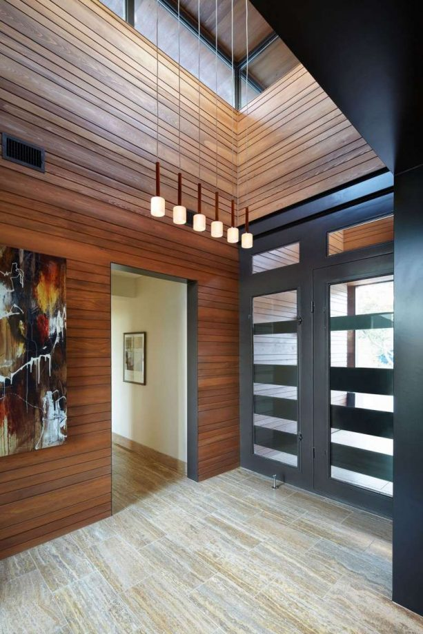contemporary black-stained door with black trims