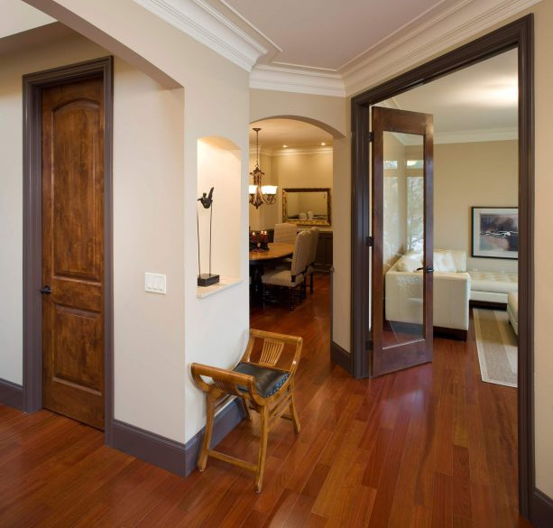 door with medium brown stain color and brown trims