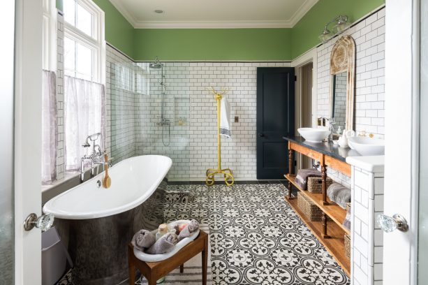 farmhouse bathroom with white subway tile and bolder Delorean gray grout