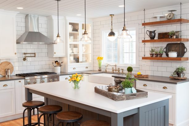 """kitchen walls from 3x6"""" white subway tile with medium gray grout"""
