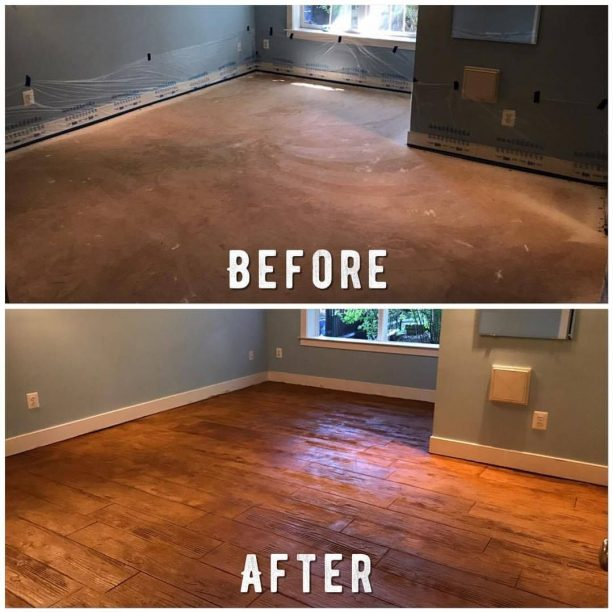 the before and after remodeling process to get wood look from concrete