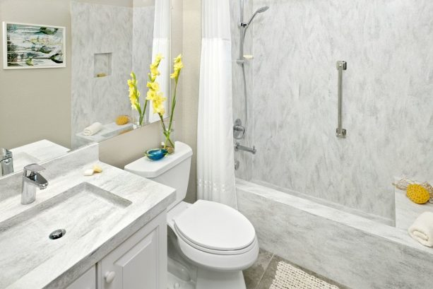 Arrowroot solid wall panels in a contemporary bathroom