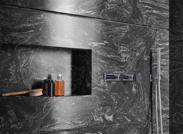 Cosmos Prima solid surface with black marble look