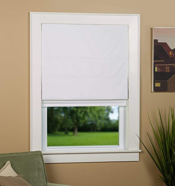 "Green Mountain Vista white blackout roman shade in 27"" x 63"" Size"