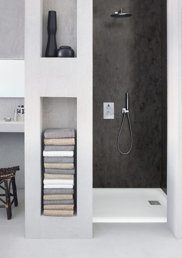 Lava Rock solid wall panels in a modern shower room