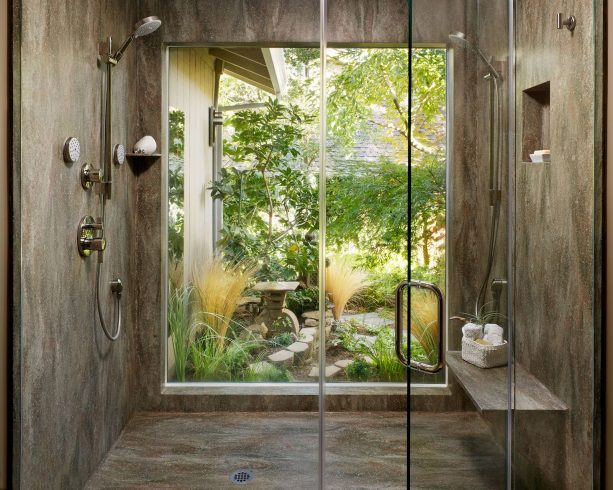 contemporary shower room with Rosemary solid panels on the walls and floor