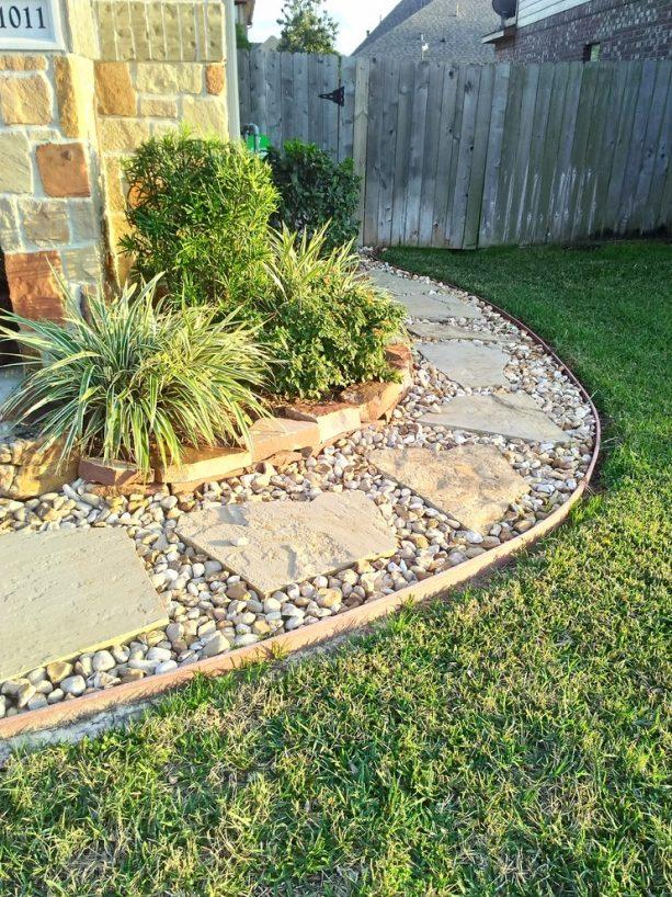 rock stepping stones on stone mulch