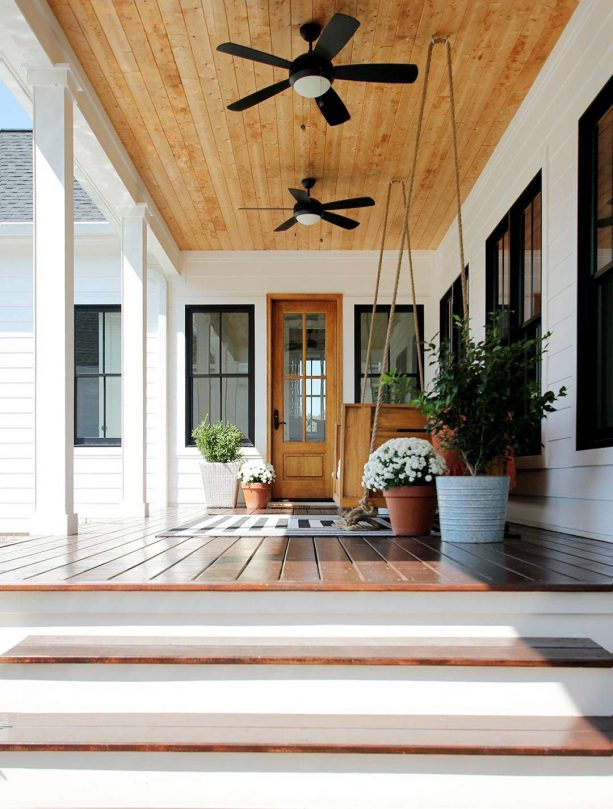 a cottage porch with tongue and groove ceiling from unfinished knotty pine material