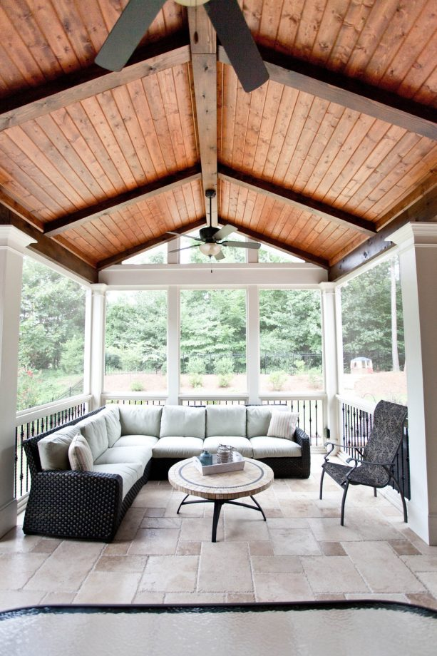 a traditional porch with vaulted Tongue and Groove ceiling