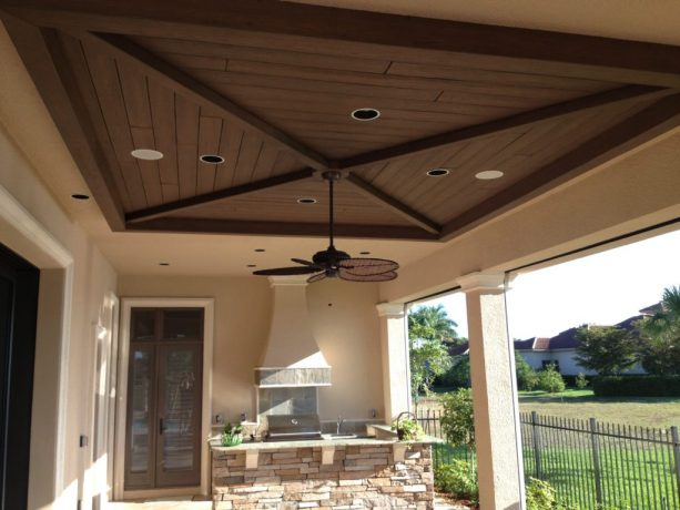 unique square tongue and groove ceiling in a back porch