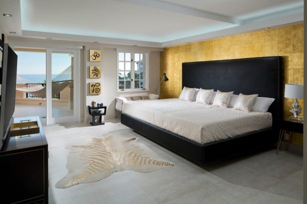 faux white and gold zebra skin in a modern Asian bedroom