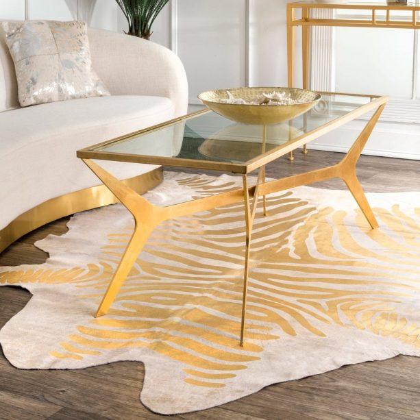 nuLOOM natural gold zebra cowhide area rug
