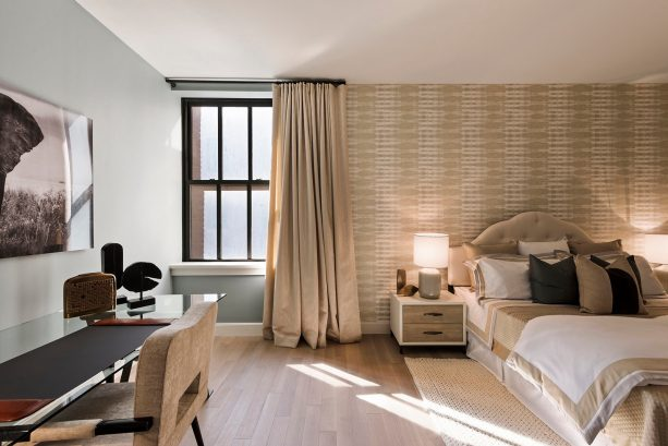 tan and black transitional bedroom