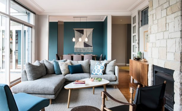 tan and teal walls in a transitional interior