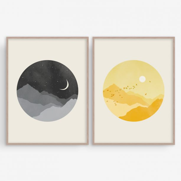 Eve Sand sun and moon wall art set