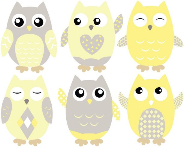 Sunny Decals owl fabric wall decals in grey and yellow