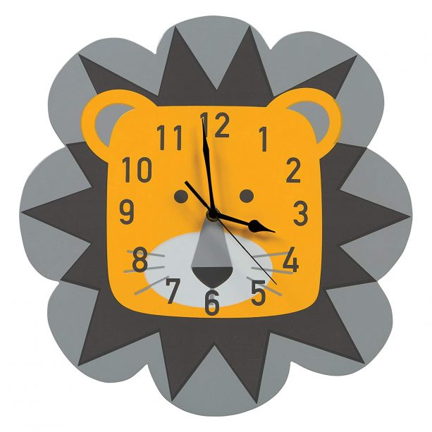 Trend Lab lion wall clock in gray and yellow