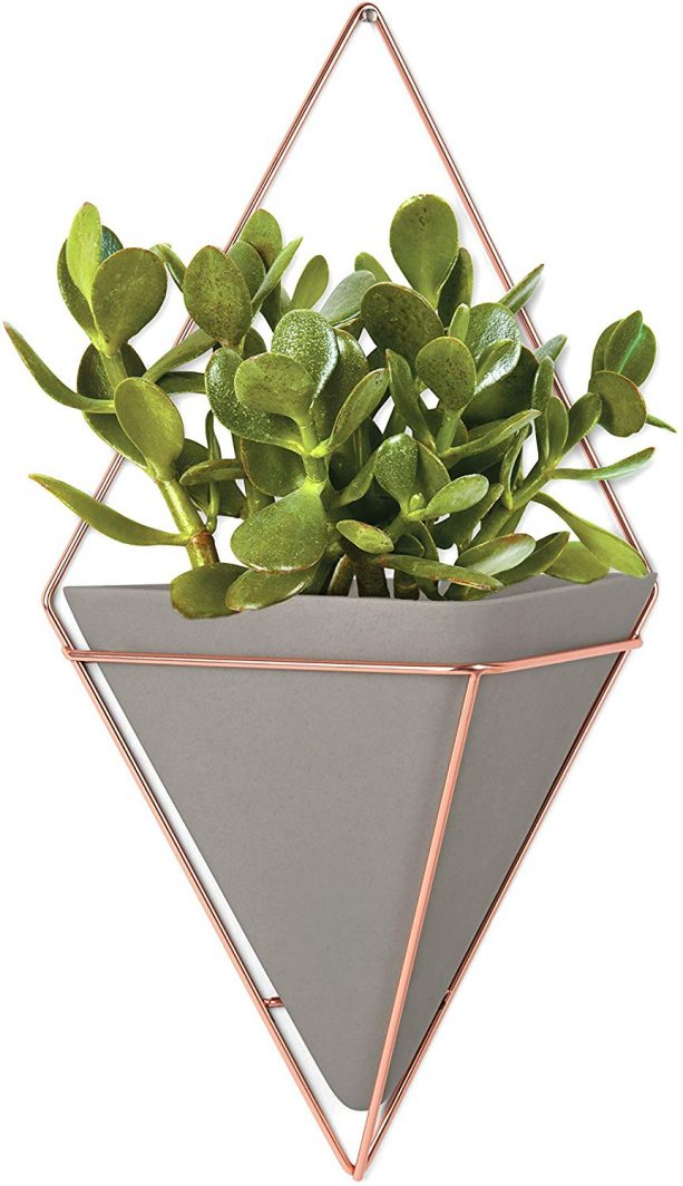 Umbra Trigg large geometric wall display in concrete and copper color theme