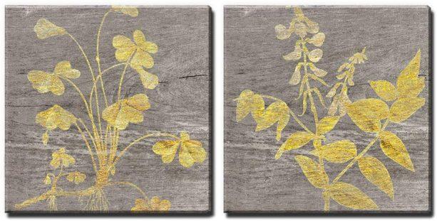 Wall26 square yellow foliage wood effect wall panels