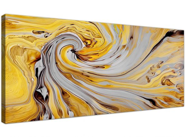 abstract mustard yellow and grey canvas wall art