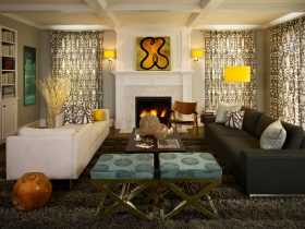 neon yellow wall sconces on a gray wall in a contemporary living room
