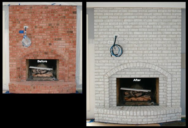 red brick fireplace into a trendy stained one