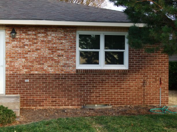 the newer look on brick residential exterior after a staining process