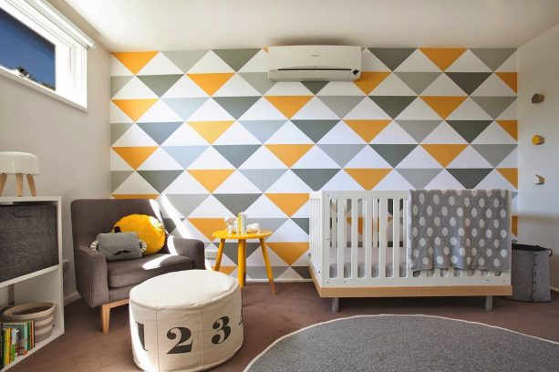 triangle pattern wallpaper with grey and yellow theme