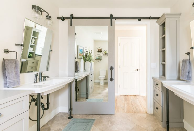 modern farmhouse sliding barn door with mirror