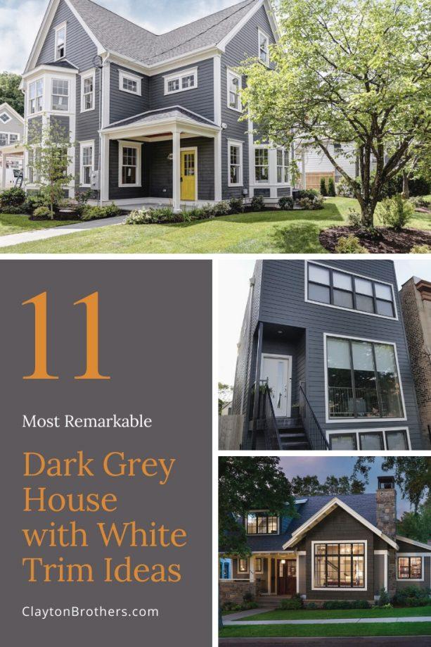 Dark Grey House with White Trim