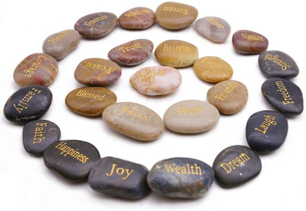 inspirational word stones for decorating bathroom sink