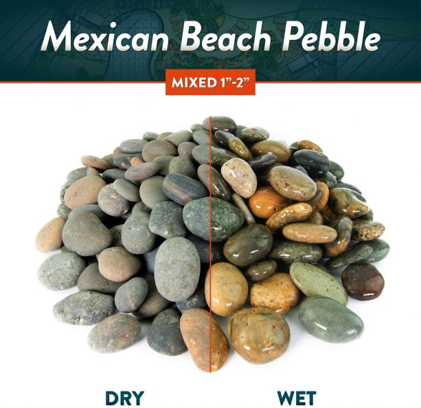 "mixed 1"" – 2"" Mexican beach pebbles in dry and wet look"