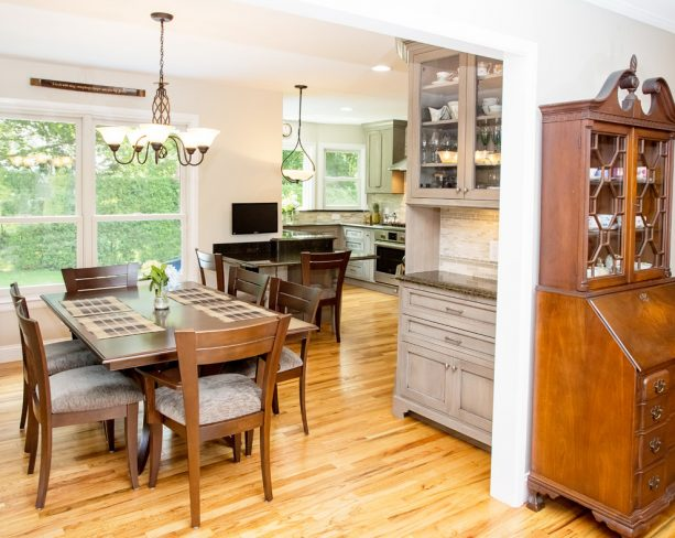 the free-standing cabinets partially cover the kitchen area
