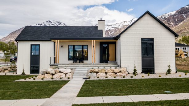 black and white classic combination in a mountain house exterior